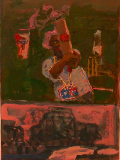 Play the white man 76 x 62 cm, oil